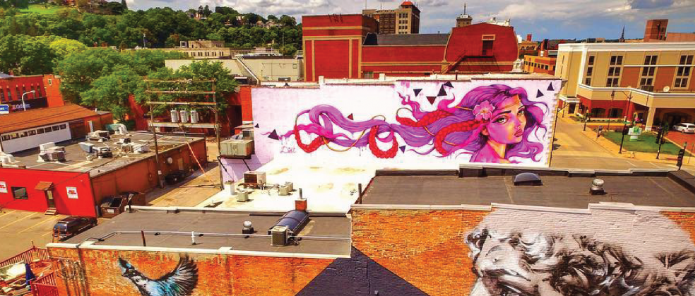 Didi Rok Mural in Downtown Dubuque on Main Street