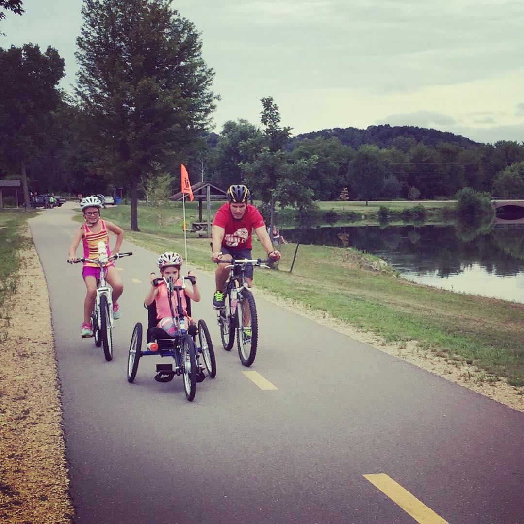 family bike riding dubuque